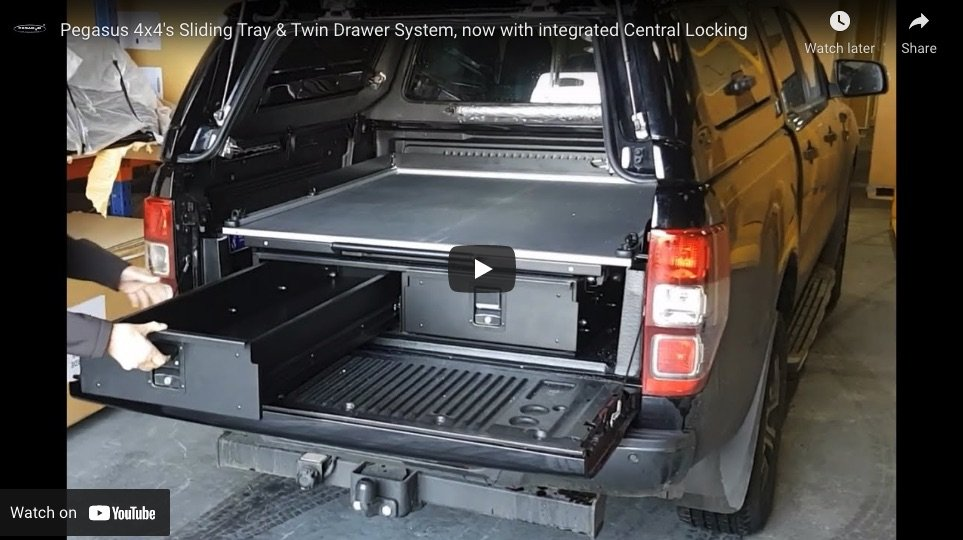 Ford Ranger Twin Drawer & Sliding Cargo Tray With or Without Central Locking